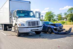 Commercial truck involved in a crash with a car