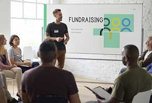 Group of nonprofit employees planning a fundraiser