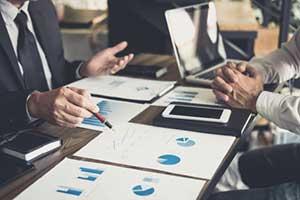 Investor reviewing portfolio