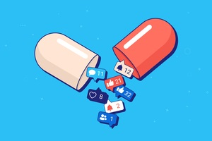 pill spilling out social media notifications