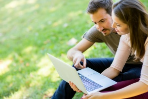 couple looking up personal insurance
