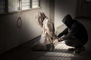 woman kidnapped by criminals who threatening her by mayhem with tie a rope needing International Liability Insurance