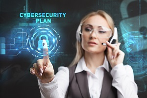 women selecting the icon cyber liability insurance plan on the virtual display